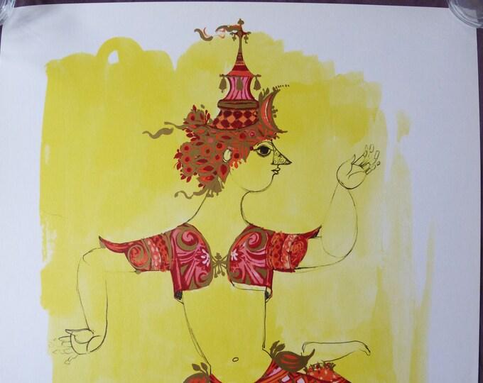 Bjorn Wiinblad print poster Solo Herre dancer Danish modernist print 1968