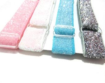Se4 of 4-Pastel GLITTER Adjustable Elastic Headband, Hair Band, Baby Headband, Adult Headband, Sport Headband-Over 10 Colors to Choose From