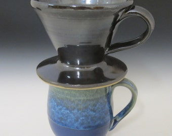 Drip coffee maker / handmade / pottery / green / by SookjaeArt