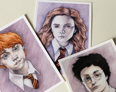 Harry, Ron and Hermione. 5x7 archival print 3 pack. Harry Potter Fan Art. Watercolor Portraits