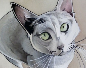 5x7 Custom Watercolor Pet Animal Portrait