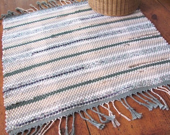 Rustic French Country Cottage Farmhouse Home Decor Cotton Rag Rug, Rustic Woodland Cabin Rug, Hand Woven Heavy Weight Green & Beige Rag Rug