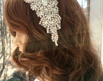 Rhinestone  Bridal Comb, Rhinestone Crystal  Applique,  Bridal Rhinestone Headpiece, Wedding  Gown Accessory