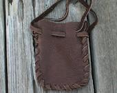 ON SALE Leather drawstring pouch , Buckskin medicine bag , Soft leather crystal bag , Leather fetish bag