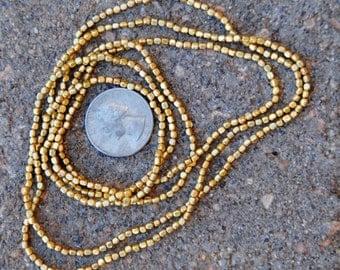 Indian Brass Metal Beads: 2 Strands 2x2mm
