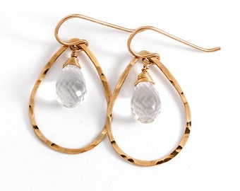 Crystal Quartz Gold Teardrops - Crystal Quartz and 14k Gold Filled Drop Hoop Earrings - Gemstone Earrings - Gold Tear Drop Earrings
