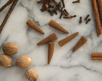 Vanilla Spice - All Natural Hand Rolled Incense Cones - Bag of 6 or 12