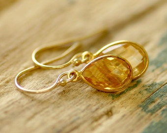 Gold citrine earrings gold earrings, November birthstone jewelry, gemstone earrings dangle, gift for women - Amy