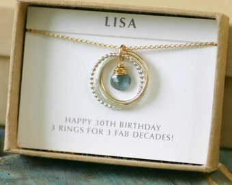 30th birthday gift for sister necklace, aquamarine necklace, March birthstone jewelry for her, 3 interlocking circles necklace - Lilia
