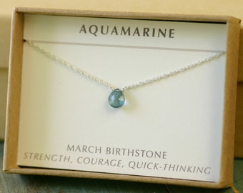 Petite aquamarine necklace delicate jewelry March birthstone necklace blue, tiny gemstone necklace for girlfriend gift - Natalie