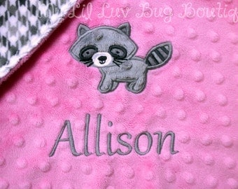Personalized minky baby blanket- baby girl hot pink and grey houndstooth racoon- woodland lovey blanket