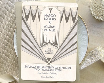 Art Deco Save the Date, Save the Date, Art Deco Wedding Invitation, Lavender Wedding, Vintage Style Wedding Invitation, Deco Marquee Theme