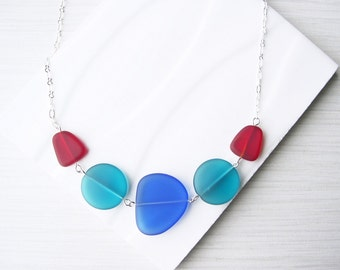Sea Glass Look Necklace, Blue, Teal, Eco Friendly Jewelry, Recycled, Red, Cobalt, Royal, Multicolor, Nickel Free Sterling Silver, Adjustable