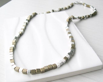 Mixed Metal Necklace, Modern Jewelry, Silver, Brass, Gold Tone, Cube, Contemporary, Neutral, Beaded, Metallic,