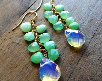 Gold earrings Chrysoprase Opalite.  One of a kind jewelry.