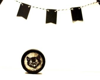 Cat Mask Pill Box, Wood box, Small Powder box, Wedding, Halloween Box, Day Of The Dead, Black Cat, Dia de los Muertos, Holiday