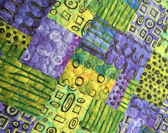 "Purple and Green Modern Quilt Kit - Grafetti from Riverwoods - 48"" x 80"""