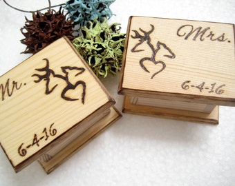 deer wedding ring boxes 2 pcs mr and mrs mini boxes camo hunting - Lotr Wedding Ring