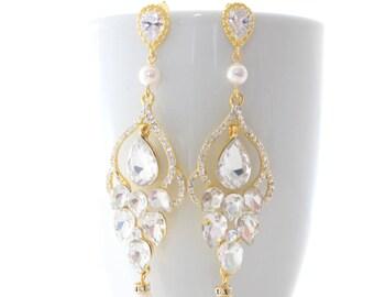 Bridal Chandelier Earrings Gold, Chandelier Earrings Wedding, Earrings Gold, Bridal Earrings Chandelier, Earrings Pearl, Statement Earrings