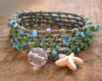 Turquoise crochet wrap bracelet - Tidal Pool - Boho jewelry, ocean beach jewelry crocheted jewelry, long necklace, starfish, summer, olive