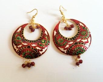 Enamel Jewelry,Red green black Earrings, Jaipur Chand Bali,Crescent Moon earrings bohemian indian Jewellery BOHO CHIC by Taneesi