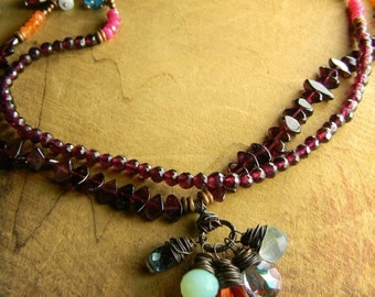 Boho Southwestern Jewelry Necklace Red Garnet Blue Pink Orange Rustic Beaded