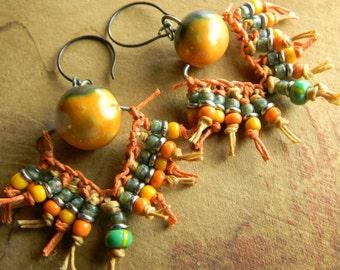 Tribal Jewelry Ethnic Beaded Earrings Artisan Orange Green Artisan Ceramic