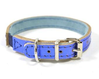Metallic Blue Bridle Leather Cat Kitten Pet Collar Handmade