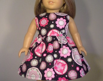 18 inch Doll Clothes Glittery Circles & Flower Print Dress fits American Girl Doll Clothes