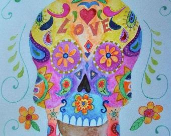 Folk Art Calavera Sugar Skull Dia de los Muertos Mexican Original Painting 11X14