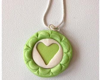 Polymer Clay Cut Out  Green and White Heart Necklace