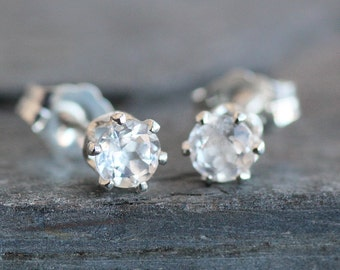 White Topaz Stud Earrings in Sterling Silver Setting -4mm Gemstones - Small Post Earrings