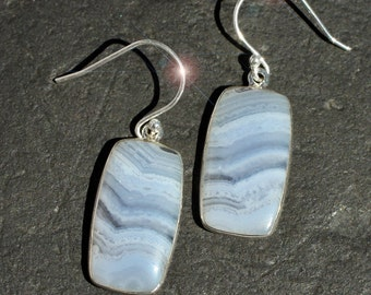 Blue Skies -  Blue Lace Agate Sterling Silver Earrings