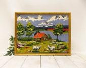"Vintage Needlepoint Landscape---""""Paint by Number Style"" Landscape--- Large Framed Country Scene"