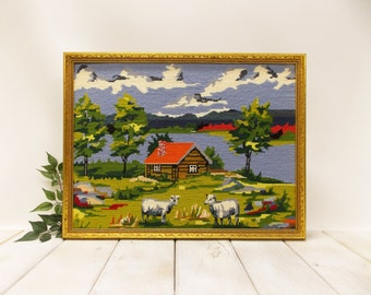 "Vintage Needlepoint Landscape---""""Paint by Number Style"" Landscape--- Large Framed Country Scene"