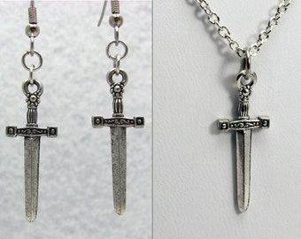Silver Sword Jewelry Set - Silver Sword Earrings & Silver Sword Necklace. Xena Jewelry Set. Xena Earrings. Xena Necklace. DnD Jewelry Set.