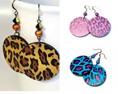 Fun Leopard Earrings, Animal Print Jewelry in Turquoise/Purple, Shimmery Pink or Natural