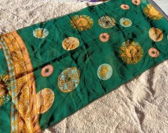 Green Silky Signed Anne Klein Scarf with Round Motifs