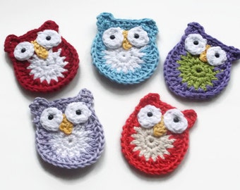owl applique - crochet owl - owl embellishments