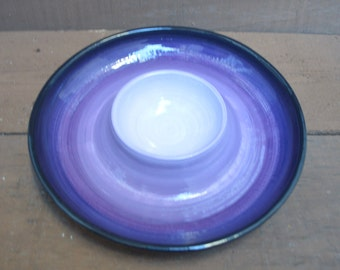 Purple Ombre Ceramic Chip and Dip Serving Tray - Bright Colorful Gradient Design - Shades of Purples