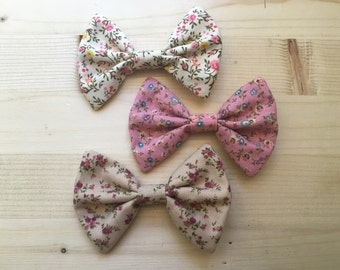 Hair bow 3 pack rustic floral pink cream beige