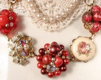 Lipstick Reds Vintage Cluster Earring Bracelet, Gold Rhinestone Bridesmaid Bracelet, OOAK Keepsake Charm Bracelet Holiday Gift for Her/Mom