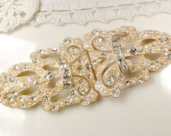 OOAK Gold Bridal Hair Comb OR Dress Sash Buckle, Art Deco Vintage Wedding Pearl Rhinestone HairPiece, 1920s Gatsby Headpiece/Belt Edwardian