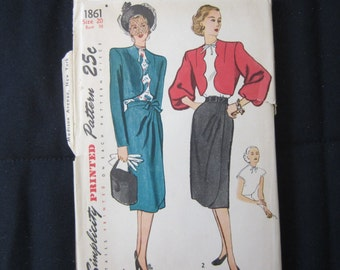 Rare Vintage 1940's Misses' and Women's Bolero suit and Blouse Simplicity Pattern #1861