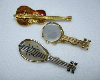 Vintage Guitar and banjo pin set  figural brooch-with Enamel and MOP