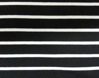 Double Knit Cotton Jersey Fabric - Wide Black and White Stripes
