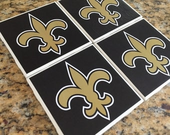 New Orleans Saints coasters, Fleur de Lis coasters, Who dat coaster, black and gold coaster, gift, set of 4
