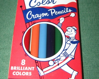 Vintage 1950s DIXON Colored PENCILS Crayons in SCHOOL Box
