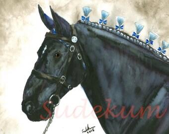 Deveroux Black Percheron Show Horse Original Watercolor Painting