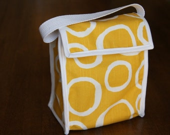 Reusable Lunch Bag - Yellow with White Circles,